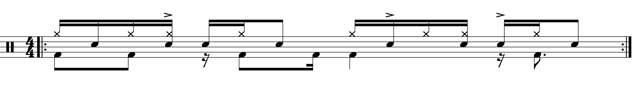 Implied Paradiddle rhythm